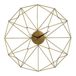 Geometric Gold Wirework Wall Clock - *Part wall art, part clock. This piece of elegant, golden wire work would sit well in a modern interior.