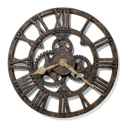 """Howard Miller - Howard Miller - Allentown Wall Clock - Enjoy the character and look of an antique timepiece in this modern polyresin wall clock. The open design will allow this clock to blend in with any color of d̩cor. The body of the clock has the appearance of rusted iron with bold Roman numerals joining concentric circles around open gears. The hands are a lighter color to aid visibility. * The character of a rusted, antique timepiece is evident in this 21"""" molded polyresin wall clock. . Aged hour and minute hands add to the appeal of the authentic look. . Quartz, battery operated movement. . D. 2-1/4"""" (5 cm). Dia. 21"""" (53 cm)"""