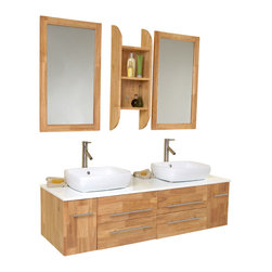 Fresca - Bellezza Modern Double Vessel Sink Bathroom Vanity - Soft Closing Doors and Drawers. Materials: Solid Oak Wood, Ceramic Sinks with Overflow, Marble Countertop. Single Hole Vessel Faucet Mount (Faucet Shown In Picture May No Longer Be Available So Please Check Compatible Faucet List). P-traps, Faucets, Pop-Up Drains and Installation Hardware Included. With overflow. Sink Color: White. Finish: Natural Wood. Sink Dimensions: 18.25 in. x14 in. x5 in. . Mirror: 19.75 in. W x 33.25 in. H. Dimensions of Shelf: 12 in. W x 33.25 in. H x 6 in. D. Vanity: 59 in. W x 19.75 in. D x 21.5 in. HThis is our most popular vanity from the Fresca line. Marble, natural wood and ceramic make up this stunning piece usually installed in high end residences. Double sinks make this perfect for a master bedroom, his and hers with equal amount of drawer space. Very clean lines, no fuss, no extra frills make it easy for the homeowner to then spice up the rest of the bathroom.