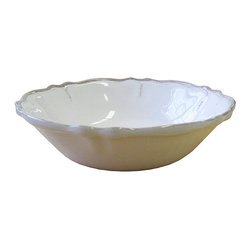 Frontgate - Set of Four Rustica Antique Cereal Bowls - Constructed of 100% heavyweight melamine that gives the look and feel of pottery. Ideal for outdoor or indoor entertaining, year-round. Each piece features a decorative scalloped edge. Dishwasher safe. Do not microwave. Shatterproof melamine makes the classic, clean Rustica Collection ideal for your outdoor table setting or picnic. The muted palette channels the look of vintage French and Italian ceramics, though the construction eliminates worries about chipping or breakage.. . . . .