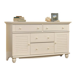 Sauder - Sauder Harbor View Dresser in Antiqued White - Sauder - Dressers - 158016 - Rustic and warm this dresser from the Sauder Harbor View collection will bring great style to any room.  Drawers feature metal runners and safety stops allowing you to use this in even the busiest of households.  As an added bonus the assembly couldn't be easier with the patented T-slot drawer assembly system.  Extra storage is hidden behind louver-detailed doors.  Detailing includes solid wood knobs and turned feet.  Finished in a beautiful antiqued white there is no doubt that this dresser will be a staple in your child's bedroom master bedroom or guest room for years to come.Features: