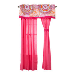 Sophia Lolita - Drapes - Sophia Lolita drapes add detail and style to the entire room.  Drapes come with two panels and tie backs.  Designed in poppin pink in cotton fabric.  Tie backs in pink.  All in cotton fabric.