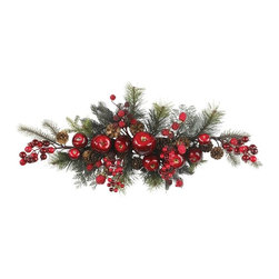 Nearly Natural - Apple Berry Centerpiece - Not for outdoor use. Apples, berries and pinecones create natural beauty. Filled with branches and greenery. 30 inches long for a dramatic effect. 30 in. W X 13 in. D X 6 in. H (2lbs)Create a vibrant splash in your home or office decor with this stunning apple, pine, and berry swag. Perfect for the holiday season, this colorful work of art contains a mix of juicy red apples and plump ripe berries surrounded by lush pine foliage. This finely crafted design adds a touch authentic beauty to any room it graces. It's the perfect size to drape across a fireplace mantle or dining room table.
