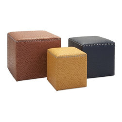 IMAX - Clark Ottomans - Set of 3 - Take a seat or put your feet up in high style with a trio of leather-look ottomans in rich neutral colors set apart with an embossed ostrich pattern and silver nailhead trim.