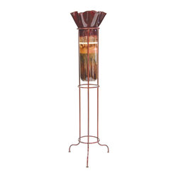 "Couleur - Sugar Plum Large Glass Ruffle Top Floor Urn - Handcrafted by artisan glass blowers the Sugar Plum Large Glass Ruffle Top Floor Urn is a wonderfully decorative and functional art glass accessory.  Because this is made of hand blown glass measurements are approximate - Each item will vary slightly in size and color.Specifications Dimensions: Are approximate because of the handmade nature of this product. (length x width x height) Overall: L 16"" x W 16"" x H 63"" (approximately)Made in: Mexico (MEX)  Style: Room: Living Room, Dining Room, OfficeUse: Decoration Only - Home Accent, Table Top Decor, Wall Decor, Shelf DecorIndoor / Outdoor: IndoorCare: Wipe clean with a soft damp cloth."