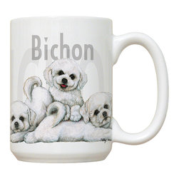 270-Bichon Frises Mug - 15 oz. Ceramic Mug. Dishwasher and microwave safe It has a large handle that's easy to hold.  Makes a great gift!