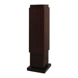 Dark Finish Skyscraper Pedestal - The Louvre would like a word with you: how did you display your most valued treasures like that? With this Dark Finish Skyscraper Pedestal, of course. Its rustic, simply detailed design allows your artwork and favorite pieces to shine without stealing the spotlight. While you show off your artifacts, don't be surprised when your guests marvel at this pedestal. Okay, maybe it will steal the spotlight a little. And it definitely should. The environmentally-friendly, natural material of this wood pedestal is worthy of display all on its own.