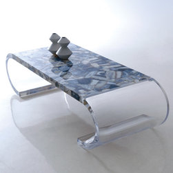 Gray Agate Coffee Table - A coffee table made with Nebbia (gray agate) from our gemstone surfaces collection.