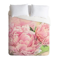 DENY Designs - Lisa Argyropoulos Pink Peonies Duvet Cover - Turn your basic, boring down comforter into the super stylish focal point of your bedroom. Our Luxe Duvet is made from a heavy-weight luxurious woven polyester with a 50% cotton/50% polyester cream bottom. It also includes a hidden zipper with interior corner ties to secure your comforter. it's comfy, fade-resistant, and custom printed for each and every customer.