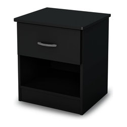 South Shore - Contemporary Night Stand in Black - Accessories not included. Laminated particle boards. Elegant metal handles in an pewter color. One drawer with open space ideal for bedside reading material. Drawer slides made of polymer. Made in Mexico. Warranty: Five years limited. Assembly required. Interior drawer: 14 in W x 14 in. D x 4.5 in. H. 17.75 in. W x 15.5 in. D x 20 in. H (22 lbs.). Assembly Instructions