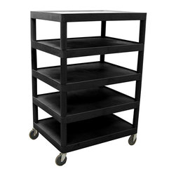 Luxor Furniture - Banquet Cart w 5 Shelves in Black - Includes 4 in. swivel casters. Two casters with locking brake. Multi-tiered and lightweight. Lip around back and sides of flat shelves. Push handle molded into top shelf. 7.75 in. clearance between shelves. Made from high density polyethylene and plastic. Made in USA. 32 in. W x 24 in. D x 48 in. H. Warranty. Instructions Manual