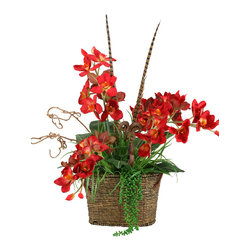D&W Silks - D&W Silks Red Orchids With Fern And Feathers In Oval Basket With Handles - Red orchids with fern and feathers in oval basket with handles