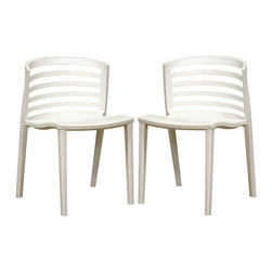 """Wholesale Interiors - Ofilia White Plastic Chairs, Set of 2 - Invest in no-frills, straightforward contemporary design with this white modern accent chair/dining chair. The chair is made from heavy-duty white molded plastic with a deep seating surface. Between the vertically straight legs and the horizontally straight backrest design, simplicity is the clear primary inspiration. These items are fully assembled. Product dimension: 19.5""""W x 22""""D x 32""""H. Set of 2."""