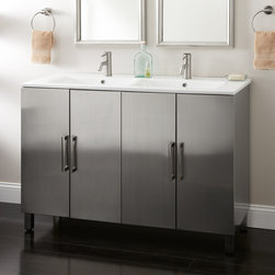 """48"""" Fasula Stainless Steel Double Vanity - The 48"""" Fasula Stainless Steel Double Vanity features a streamlined design with a ceramic integral sink and four shelves for storage."""