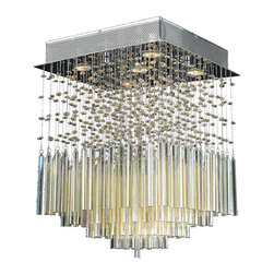 """Worldwide Lighting - Torrent 5 Light Chrome Finish Golden Teak Crystal 16"""" Square Flush Ceiling Light - This stunning 5-light ceiling light only uses the best quality material and workmanship ensuring a beautiful heirloom quality piece. Featuring a radiant chrome finish and finely cut premium grade translucent golden teak (champagne color) crystals with a lead content of 30%, this elegant ceiling light will give any room sparkle and glamour. Worldwide Lighting Corporation is a privately owned manufacturer of high quality crystal chandeliers, pendants, surface mounts, sconces and custom decorative lighting products for the residential, hospitality and commercial building markets. Our high quality crystals meet all standards of perfection, possessing lead oxide of 30% that is above industry standards and can be seen in prestigious homes, hotels, restaurants, casinos, and churches across the country. Our mission is to enhance your lighting needs with exceptional quality fixtures at a reasonable price."""