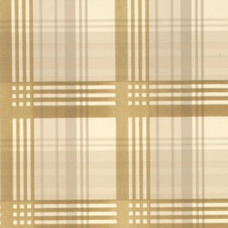 Mulberry Modern Tartan Flock Wallpaper, Coffee/Cream - Gorgeous and light with hues of gold, cream and tan, this wallcovering is so chic.