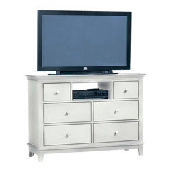 American Drew - American Drew Sterling Pointe Entertainment Center in White - White with White T - Sterling Pointe, from American Drew, is a collection of bedroom furniture with simple lines, but spectacular possibilities. Sterling Pointe is a versatile group that can easily capture any lifestyle and work in any setting. The collection can go from urban chic to country cottage, from transitional to coastal, and all personal styles in between! Sterling Pointe is offered in four popular colors; Black, White, Cherry and Maple. All case pieces come with matching color hardware and polished chrome finish hardware for even more personalization. In addition, the Black and White colored case pieces have the option to customize the tops in either Cherry or Maple colors. When you choose this option, you get hardware in the matching case color, matching top color and polished chrome finish. The three bed styles are offered in multiple sizes to fit any room and setting.This is the perfect collection for that condo or town home, second bedroom or second home. Sterling Pointe has a timeless appeal that can adapt and last a lifetime. Sterling Pointe will capture the essence of your personal style.