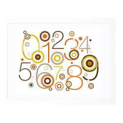 Olli and Lime - Sunburst Numbers Print, Orange and Brown - The energetic design of this number print would be perfect for a nursery. It's fun and cheerful and would make a great gift. And your eco-minded friends will appreciate that it's printed on 100 percent recycled paper.