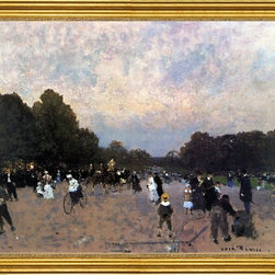 """Luigi Loir-16""""x20"""" Framed Canvas - 16"""" x 20"""" Luigi Loir L'Avenue du Boid de Bologne framed premium canvas print reproduced to meet museum quality standards. Our museum quality canvas prints are produced using high-precision print technology for a more accurate reproduction printed on high quality canvas with fade-resistant, archival inks. Our progressive business model allows us to offer works of art to you at the best wholesale pricing, significantly less than art gallery prices, affordable to all. This artwork is hand stretched onto wooden stretcher bars, then mounted into our 3"""" wide gold finish frame with black panel by one of our expert framers. Our framed canvas print comes with hardware, ready to hang on your wall.  We present a comprehensive collection of exceptional canvas art reproductions by Luigi Loir."""