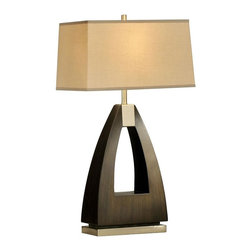 Nova - Trina Table Lamp - UL Certified. 6 foot  Cord. Bulb NOT included. Elegant, unique table lamp. Modern, contemporary, dark brown, brushed nickel. Warm, high quality fabric shade. Functional and stylish. Shade Material: Tan Linen. Shade Dimensions: 9 x 16 - 10 x 17 x 10V. Switch Type: 3-way switch. 1 Year Limited Manufacturer Warranty. 17 in. W x 30 in. H, 15.4 lbs