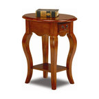 Leick Furniture - Favorite Finds Oval Side Table w Cabriole Leg - Dovetailed drawer box. Graceful cabriole legs. Solid hardwoods. Minimal assembly required. 21 in. W x 16 in. D x 24 in. HDrawer storage and shelf display make for a high impact presentation. The solid wood construction ensures that this table will hold up to everyday use.