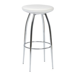 Bernie-B Bar Stool (Set Of 2)-Wht/Chr - For a stool so sturdy, the Bernie-B conveys a surprising  air of lightness and delicacy.  A commercial grade build, the beautifully tapered chromed steel legs add a certain dollop of extra style to the occupant.PVC fabric over foam seat