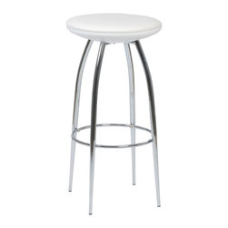 Eurostyle - Bernie-B Bar Stool (Set Of 2)-Wht/Chr - For a stool so sturdy, the Bernie-B conveys a surprising  air of lightness and delicacy.  A commercial grade build, the beautifully tapered chromed steel legs add a certain dollop of extra style to the occupant.PVC fabric over foam seat