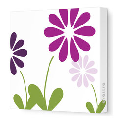 "Avalisa - Imagination - Simple Floral Stretched Wall Art, 28"" x 28"", Purple -"