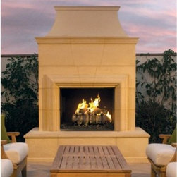 American Fyre Designs Cordova Outdoor Fireplace - Upgrade your outdoor living space with the American Fyre Designs Cordova Outdoor Fireplace. A stunning way to add warmth and elegance, this fireplace is well-designed and a snap to assemble. This DIY fireplace comes in a stately Cafe Blanco finish and includes the hearth, body, chimney, firebox, and a 24-inch charred oak log. Simply choose your fuel source (natural gas or liquid propane). To assemble stack and bolt together on your existing concrete pad or backyard area. This outdoor fireplace has a handsome bull nose hearth and is made of durable and lightweight fiberglass reinforced concrete. Perfect for all climates!Note: Review any building restrictions or construction permit requirements before installation of an outdoor fireplace. Contact your local zoning commission/homeowners association for details. Contact a licensed contractor for installation as this product may require connection to a natural gas line.About American Fyre DesignsR. H. Peterson Company, a premium gas product manufacturer, launched American Fyre Designs in 2013. This complete line of uniquely designed and handcrafted exterior fire features are meant to meet the growing demand for outdoor living products. Pre-fabricated exterior fireplaces, fire tables, urns, pits, walls and BBQ islands make up this unique line and each item is constructed of durable, lightweight glass fiber reinforced concrete. Everything in the American Fyre Designs line is made in the USA and follows strict quality standards using advanced technology.