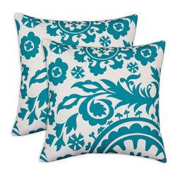 Chooty & Co. - Suzani Teal and White Turquoise  Pillow , Set of Two - - Zippered closure  - Removable Sleeve  - Product Depth: 17  - Product Width: 17  - Product Height: 4  - Product Weight: 6  - Material: 100% Cotton and Polyester Chooty & Co. - PSET17K7101