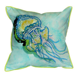 Betsy Drake - Betsy Drake Jelly Fish Pillow- Indoor/Outdoor - Jelly Fish Pillow- Large indoor/outdoor pillow. These versatile pillows are equal at enhancing your homes seaside decor and adding coastal charm to an outdoor setting arrangment. They feature printed outdoor, fade resistant fabric for years of wear and enjoyment. Solid back, polyfill. Proudly made in the USA.