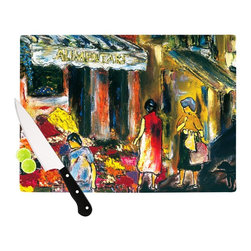 "Kess InHouse - Josh Serafin ""Alimentari"" Multicolor Painting Cutting Board (11.5"" x 15.75"") - These sturdy tempered glass cutting boards will make everything you chop look like a Dutch painting. Perfect the art of cooking with your KESS InHouse unique art cutting board. Go for patterns or painted, either way this non-skid, dishwasher safe cutting board is perfect for preparing any artistic dinner or serving. Cut, chop, serve or frame, all of these unique cutting boards are gorgeous."