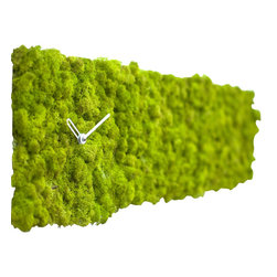 EcoFirstArt - CLOCK CIRCLE RECTANGULAR - Your sense of quirky style is up to the minute, as this improbable timepiece proves. The clock is covered entirely in green lichen that thrives indoors, no natural light required.