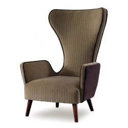 Julian Chichester - Granta Chair,  Modern Classic Armchair - A modern classic armchair with exaggerated curves and period style legs and arms. Each piece is finished by hand by artisans and is unique.