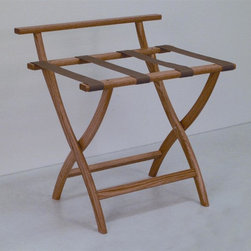 "Wooden Mallet - Luggage Rack w Standard Tan Webbing in Light - Our unique ""Wall Saver"" feature prevents costly wall damage. Has multiple uses when it doubles as a breakfast tray holder or blanket stand. Folds flat and is easily stored in a closet or against a wall when not in use. Four 2 in. woven straps support heavy suitcases. Graceful, curved legs add a designer flair. Rated to hold suitcases up to 100 lbs.. Built using solid oak construction and state-of-the-art finish for heavy use and lasting beauty.  Made in the USA. No assembly required. All Wooden Mallet products are warranted for 1 year against defects in materials and workmanship. Overall: 29.5 in. L x 23.75 in. W x 18 in. H (7 lbs.). Open: 29.5 in. L x 23.75 in. W x 18 in. H. Closed: 29.5 in. L x 23.75 in. W x 4.5 in. HGive your guest room the feeling of a four star hotel with this beautiful luggage rack. Built using solid oak and sturdy webbing, even the heaviest suitcases are easily supported by the four 2 in. wide woven straps. Our unique ""Wall Saver"" feature prevents costly wall damage. This luggage rack has multiple uses when it doubles as a breakfast tray holder or blanket stand. These luggage racks fold and unfold easily. Take it out for guests, and then fold it up for easy storage. It is also a great in the master bedroom for packing suitcases for business trips or vacations."