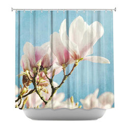 DiaNoche Designs - Shower Curtain Artistic - Magnolias III - DiaNoche Designs works with artists from around the world to bring unique, artistic products to decorate all aspects of your home.  Our designer Shower Curtains will be the talk of every guest to visit your bathroom!  Our Shower Curtains have Sewn reinforced holes for curtain rings, Shower Curtain Rings Not Included.  Dye Sublimation printing adheres the ink to the material for long life and durability. Machine Wash upon arrival for maximum softness. Made in USA.  Shower Curtain Rings Not Included.