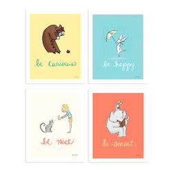 "Sarah Jane Studios - Be Collection (Set of Four), 8x10 - - All 4 ""Be"" prints in a set!  - Includes the prints: Be Curious, Be Happy, Be Smart & Be Nice. - Art print created from a hand drawn & digitally colored original illustration  - Gicl̩e prints are archival printed on museum quality archival paper  - Ships flat in a protective sleeve  - Printed locally in the USA  - Watermark does not show on printed art piece"