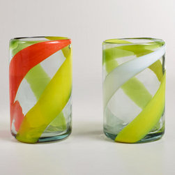 Warm-Toned Swirl Tumblers - I absolutely love these Mexican crafted tumblers. They bring back childhood memories of when I used to live in Mexico City.