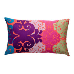 "Totem Pillow, Pink/Mauve/Green, 15"" x 27"""