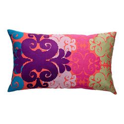 "KOKO - Totem Pillow, Pink/Mouve/Green, 15"" x 27"" - There's something rich and regal about the colors, pattern and textural quality of this pillow — none of which takes away from the playful vibe. In other words, it's fun and fancy, just like your eclectic style!"
