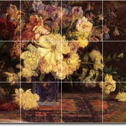 Picture-Tiles, LLC - Still Life With Peonies Tile Mural By Theodore Steele - * MURAL SIZE: 12.75x17 inch tile mural using (12) 4.25x4.25 ceramic tiles-satin finish.