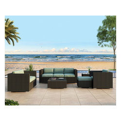 Urbana 5-Piece Outdoor Wicker Sofa Set, Spa Cushions
