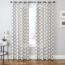 Grandin Road - Riva Burnour Sheer Drapery Panel - Patterned sheer curtain panel featuring a hexagonal pattern finished with a distinctive burnout texture. Each panel is sold separately. 80% polyester for durability, 20% rayon for a pleasing sheen. Each panel hangs from eight nickel-toned grommets. See our selection of curtain rods (sold separately). Dress your window with the Riva Burnout Sheer Panel; it's a sheer curtain detailed with a versatile, hexagonal design, so you can enjoy diffused light and a designer look with just one drapery layer. Sheers are an excellent way to protect furnishings and rugs from exposure to strong sunlight, and still let light into a space. Select one of the neutral color combinations to complement your room - hang one alone or layer it with additional decorative panels for a designer look.  .  .  .  .  . Dry clean only . Imported.