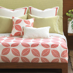 Eastern Accents - Estefan Bedset - Take a plunge into the coral pink and ocean-green hues of the tropical Estefan. Block printed seahorses, created by hand in our Chicago studio, dance alongside crisp linens and lively patterns.