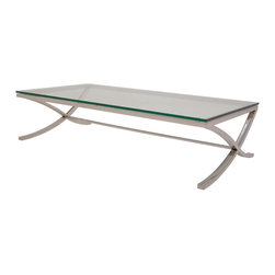 "Nuevo Living - Felix Coffee Table - Long and sleek, Felix Coffee Table features polished stainless steel legs with crossed asymmetrically design, and  ½"" clear tempered glass top. Felix coffee table will fit perfectly into any room, with its efficient construction and alluring style."