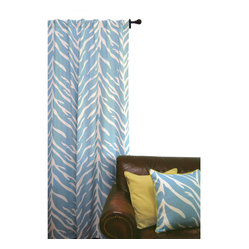 ez living home - EZ Living Home Zebra Window Panel 84L Cream on Turquoise - *Timeless and classic zebra pattern with a modern touch; complements existing room decoration.