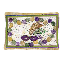 Caroline's Treasures - Mardi Gras Beads  Fabric Decorative Pillow - 12 inch x 16 inch 100 percent Polyester Fabric pillow Sham with pillow form. This pillow is made from our new canvas type material and can be used indoors or outdoors.  Mildew resistant, stain resistant, fade resisitant and Machine washable.  Made in the USA!
