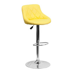 Flash Furniture - Flash Furniture Barstools Residential Barstools X-GG-LEY-A82028-HC - This dual purpose stool easily adjusts from counter to bar height. The bucket seat design will make this a great accent chair around the bar area or kitchen. The easy to clean vinyl upholstery is an added bonus when stool is used regularly. The height adjustable swivel seat adjusts from counter to bar height with the handle located below the seat. The chrome footrest supports your feet while also providing a contemporary chic design. [CH-82028A-YEL-GG]