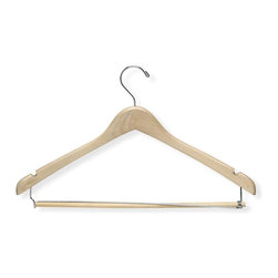 Honey Can Do - Contoured Suit Hanger w Locking Bar, Maple, 6 - Contoured wood, locking bar. 9.5 in. x 17.5 in.