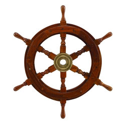 Benzara - 18in. Dia Wood Brass Ship Polystone Wheel - Wood Brass Ship Polystone Wheel is a perfect nautical wall decor within budget that coordinates with most of existing home decor trends. This solid wood ship wheel is perfect fit for Boat or use for any nautical decor.
